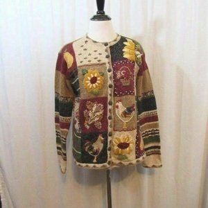 Natural Reflections Flowers Chicken Fall Cardigan